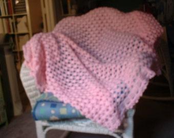 "Hand Crocheted Pink Baby Afghan ""Keepsake""  40"" x 66"""