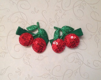 Red Sequin Cherry Hair Clips TWO-Infant,Baby,Toddle,Girl-Baby Girl Green,Red Hair Clips- Non Slip Grip- BL109