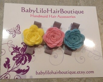 Baby Hair Clip, Baby Barrette, Flower Hair Clip, Girl Hair Clip, Toddler Hair Clip, Wool Felt Hair Clip, Flower Hair Clip -BL161