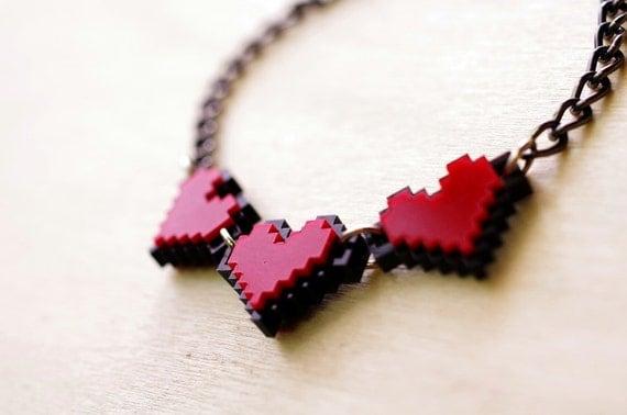 3 Pixel Heart Bracelet Acrylic  Plastic for zelda gamer 8 bits 2 sides design