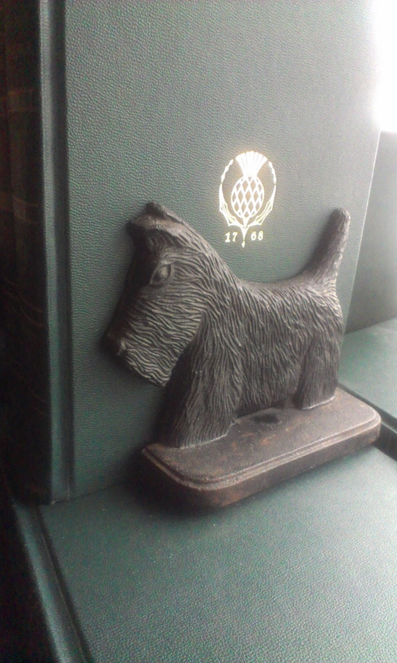 Vintage Cast Iron Black Scottie Dog Antique Doorstop Or
