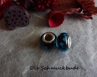 D-02308 - 2 European beads 13mm Lampwork handmade