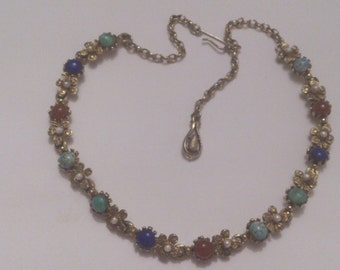 vintage gemstone necklet