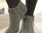 Hand Knitted wool short sock / slippers for women or girls, made to order
