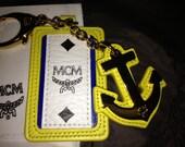 MCM handbag  backpack anchor keyring nautical yellow lime  leather name tag  with box