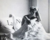 Vintage B&W Postcard from Dianne B. NYC 1983 Jean Charles de Castelbajac Sheets Photographed by Peter Hujar - LyricalVintage