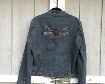 Hand Painted Denim Blazer with Dragonfly