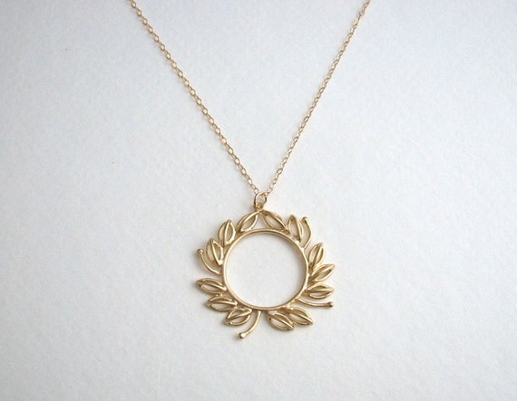 gold wreath necklace gold leaf necklace fall by