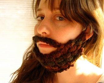 Brown Crochet Beard and Mustache - Face Warmer
