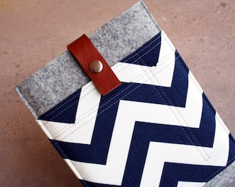 Blue & White Chevron iPad Mini sleeve case with brown leather strap for closure 100% merino wool felt 3mm thick