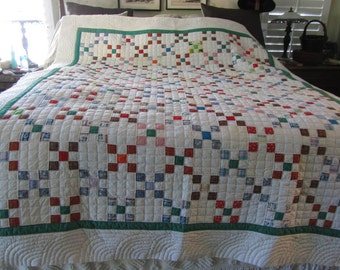 Reduced price   vintage quilt, finished except for binding on edge, hand quilted, free ship