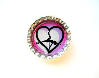 Pole Dance Heart Resin filled Glitter Bottle Cap Necklace with Ball Chain
