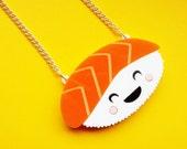 Acrylic Sushi Necklace: HAPPY SUSHI Laser Cut Acrylic Sushi Necklace