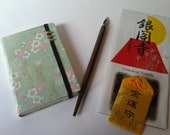 Japan in a pocket. Sakura collection. Handmade note book with antique brass decoration.