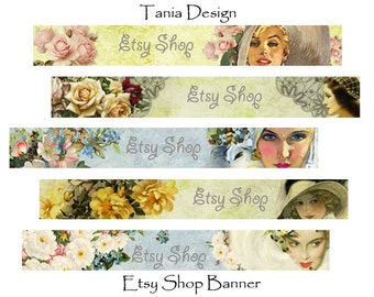 ETSY SHOP BANNERS - Multipurpose digital images - Printable Download - Digital Collage Sheets -