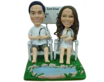Personalised wedding cake topper - let's go fishing (Free shipping)