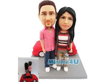 couple with a car - custom anniversary figurine 100% handmade  (Free Shipping Worldwide)