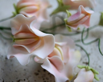 Gumpaste Sweet Pea Spray, Sugar Flower