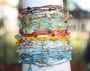 Wholesale Lot of 33  Crystal, Leather ,Boho  Bracelet. . Multistrand.