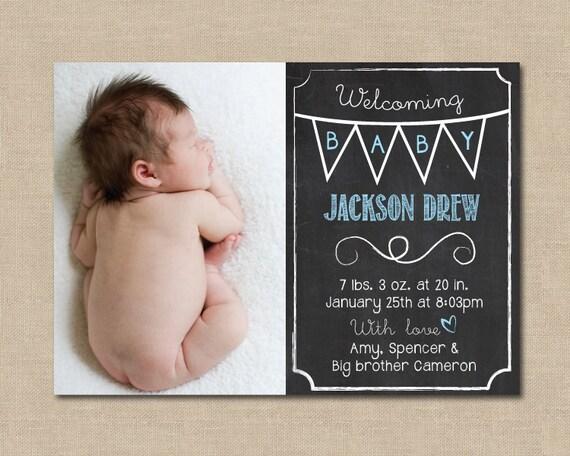 Chalkboard Baby Announcement: Photo Digital File