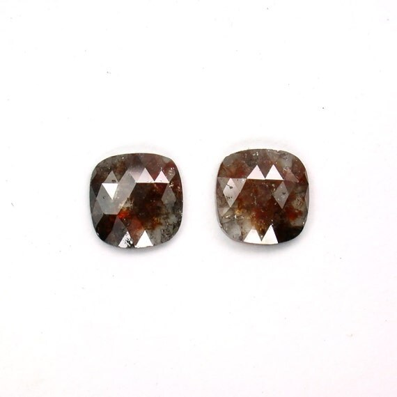 Loose Color Diamond, Fancy Rose cut Cushion Matching Pair,  0.94ctw. 100% Natural