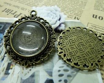 10pcs 25mm Antique Bronze Bezel Cup Cabochon Mountings Pendant Trays H24476