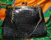 Black embossed  handbag with gold chain