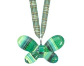 Butterfly Pendant Irish Tartan Ribbon