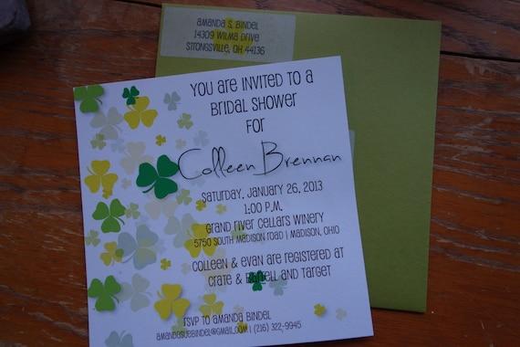 Items similar to irish wedding shower invitations on etsy for Etsy wedding invitations ireland