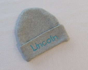 Personalized Custom Boutique NEWBORN BEANIE HAT - Hospital Hat, Gender Reveal, Name Reveal