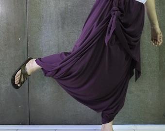 Boho Funky Hippie Stylish Pants In Plum Cotton Mix Polyester Jersey - P015