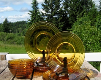 Duralex Rivage Dinnerware Pieces- Amber -From France - Beehive Pattern