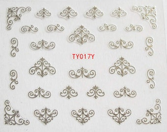 TY017-Silver Nail Art Sticker Nail Art Sticker Sheet DIY Nail Art