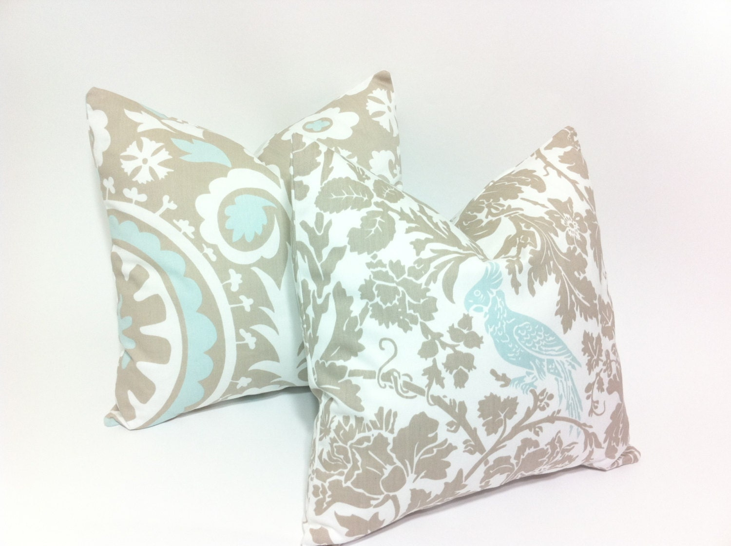 Light Blue Throw Pillow Covers : Light Blue and Taupe Decorative Throw Pillow Covers Bird