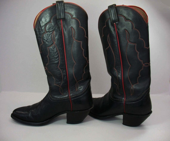 Black Cowboy Boots Black Red Cowboy Boots by FindingMaineVintage