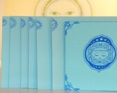 blue small postcard and envelope, set of handmade postcard and envelope with the blue sun (hand painted, hand crafted),