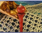 Hand Turned Redheart Hair Stick / Shawl Pin - Crowned Sphere Design