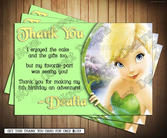 Novel Concept Designs Tinkerbell Birthday Invitations and Thank – Tinkerbell Birthday Card