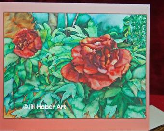 Watercolor Art, Peony Printed Blank Note Card, Fine Art Giclee Printed Card, Flower Art