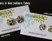navy & lime cover button earrings