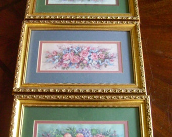 Framed Flower Prints Set of Three