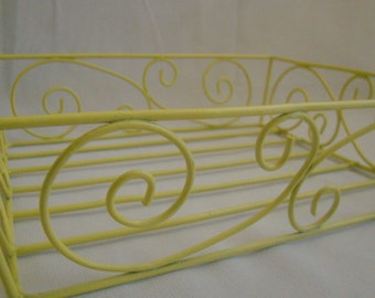 Vintage Upcycled Yellow Wire Basket