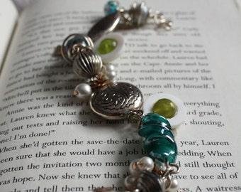 Silver and Aqua Pearl Charm Bracelet
