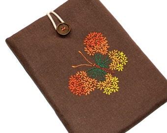 iPad Cover, Hand embroidered iPad Sleeve, Padded Nexus10 case, iPad Air 2 sleeve, Handmade iPad case