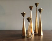 Vintage Modern Brass Hexagon Shape Candle Set Of Five from Modern Design 20 on Etsy