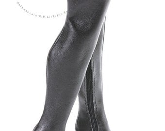 "Over Knee Thigh High-Heel Wide Boots Shoes Black for 16"" Tonner Tyler/Gene dolls"