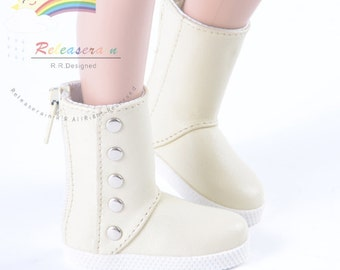 "5-Stud Leather Boots Shoes Ivory for 17"" Tonner Matt O'Neill Male, 17"" Lara Croft, 14"" Kish Dolls"