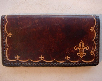 Tooled Brown Leather Checkbook Cover - Large Fleur de Lis
