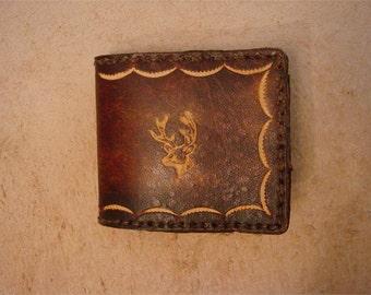 Tooled Brown Leather Kid's Wallet - Kid's Billfold - Buck Head