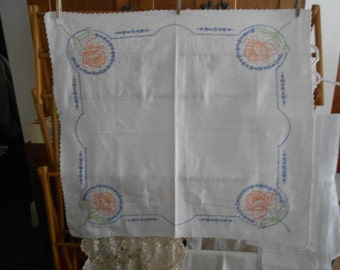 REDUCED  4 roses embroidery table topper
